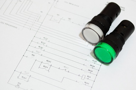 electrical fuse LED indicators on the electrical wiring diagram lighting  photo