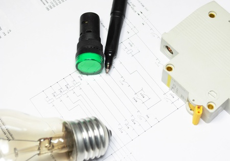 pencil, lamp and LED indicators are on the wiring diagram  photo