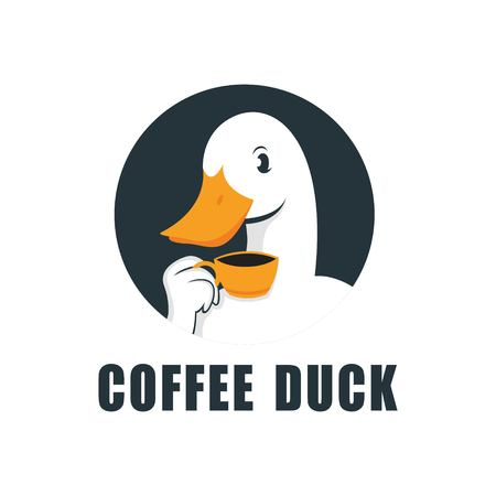 Duck Logo Design Abstract Vector Medium Drinking A Cup of Coffee, Symbol or Logo Template. Sketch of Hand Engraving Duck. Vintage Emblem. Isolated. Иллюстрация