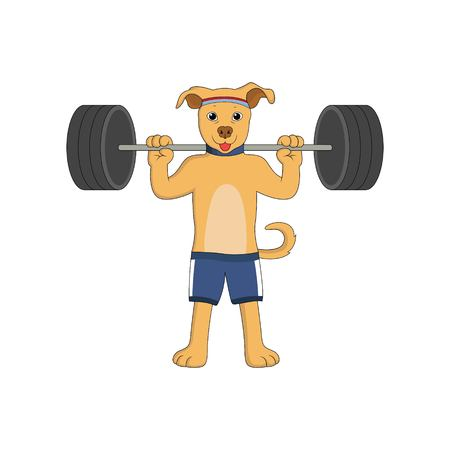 Cartoon dogs are doing weightlifting with funny face