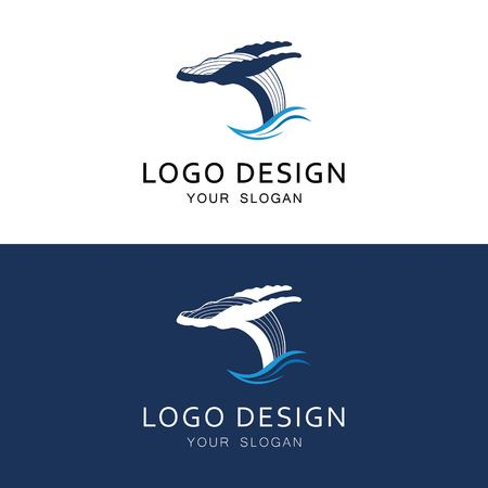 Whale company logo design. Mammals. Conservation concept. Vector illustrations can be used for topics such as wildlife, marine, ecosystems Ilustrace
