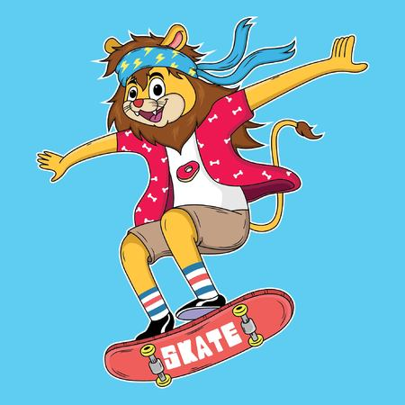 cartoon lion are playing skateboard with cool style