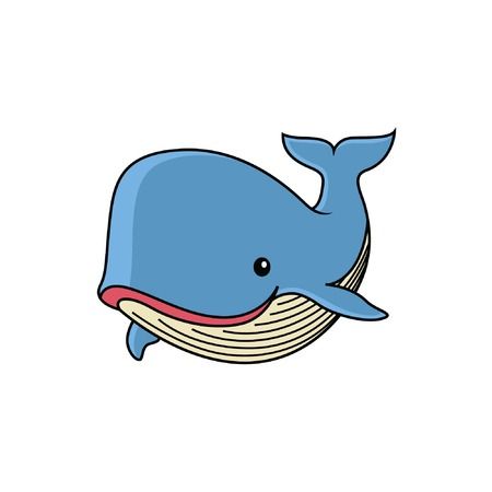 cute whale cartoon with a sweet smile Banque d'images - 127343103