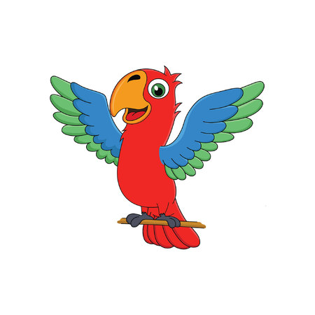 cartoon parrot with happy face Stock Illustratie