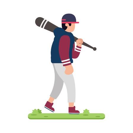 design baseball players on grass 일러스트
