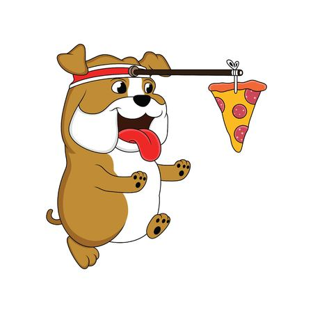 cartoon fat dog is running chasing pizza