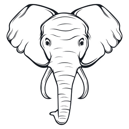 black and white elephant head logo illustration