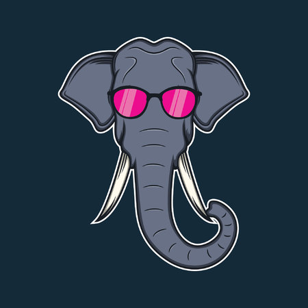 elephant head cartoon with pink glasses Vectores
