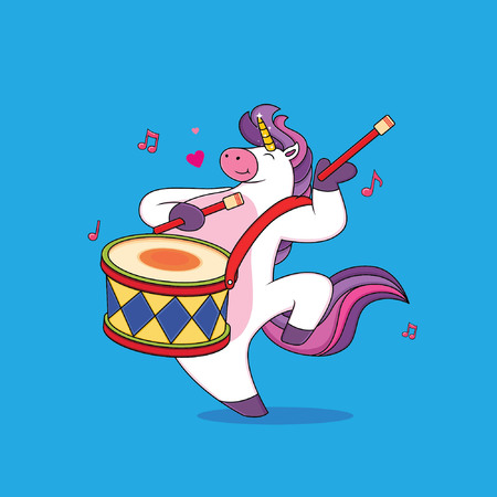 Cute chubby unicorn cartoons are playing drums