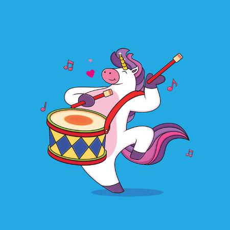 Lindos dibujos animados de unicornio gordito están tocando la batería Ilustración de vector