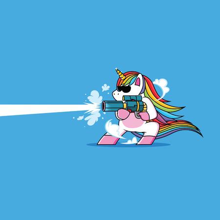 unicorn with a cool gun Illustration