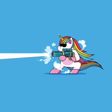 unicorn with a cool gun 向量圖像