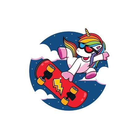 Cartoon Unicorns Play Skateboard