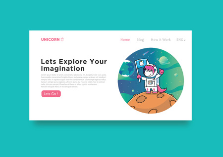 cover template with astronaut unicorn