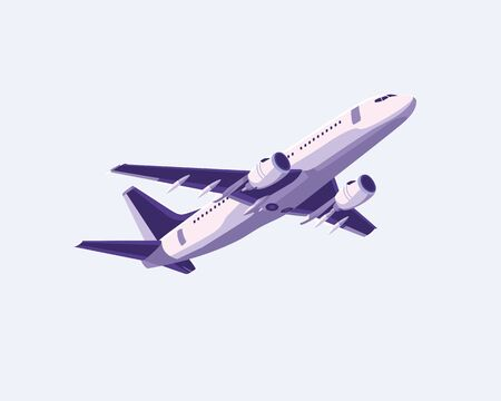 Simple flat airplane design with purple color