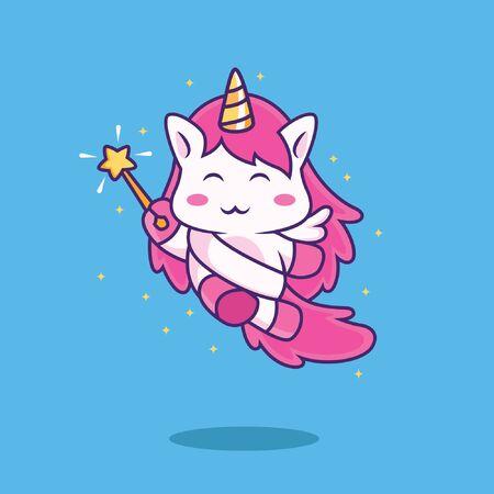 cute fairy unicorn cartoon with wing and magic wand