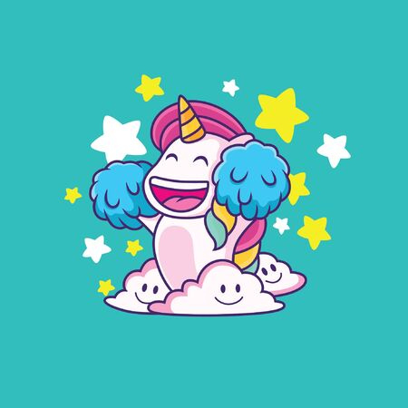 cute unicorn cartoon with big smile