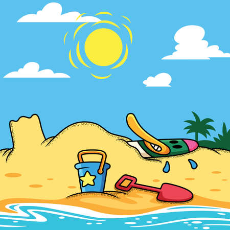 Duck relax in beach vector cartoon illustration. Animal holiday icon concept isolated premium vector.