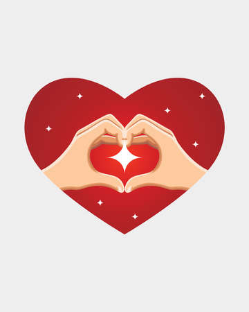 Hand making heard sign with shine, Valentine's day. Vector Illustration on white background Ilustração