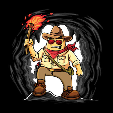 Nacho adventure with a brave expression in cave. Cartoon vector isolated character.