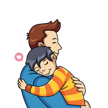 Child cartoon hugs his father with love