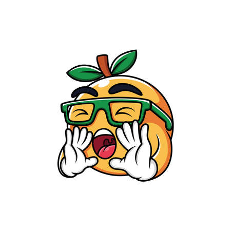 Cartoon Orange Expression was Screaming in white background