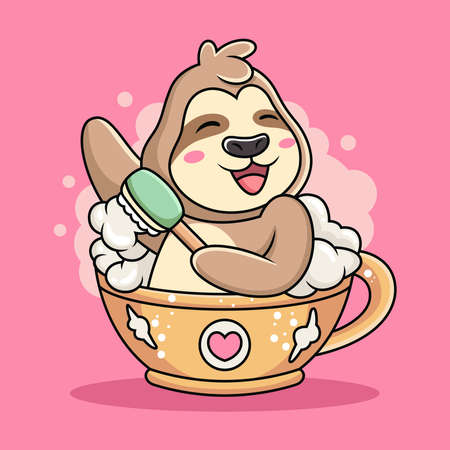 Cute Sloth Swim on Cup of Coffee Cartoon. Animal Vector Icon Illustration, Isolated on Pink Background Vetores