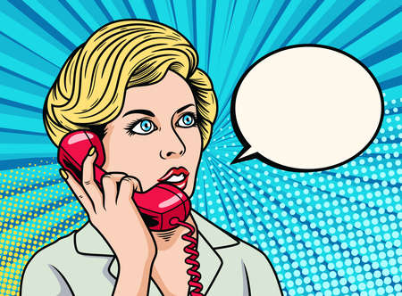 Business Woman talking on the phone. Pop Art Vector Icon Illustration, Isolated on Premium Vector