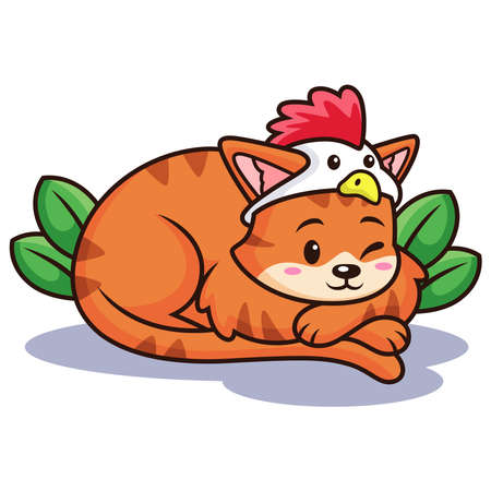 Cat with Chicken Costume. Vector Icon Illustration, Isolated on Premium Vector
