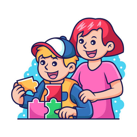 Boy Plays Puzzles with Mother Cartoon. Vector Icon Illustration, Isolated on Premium Vector