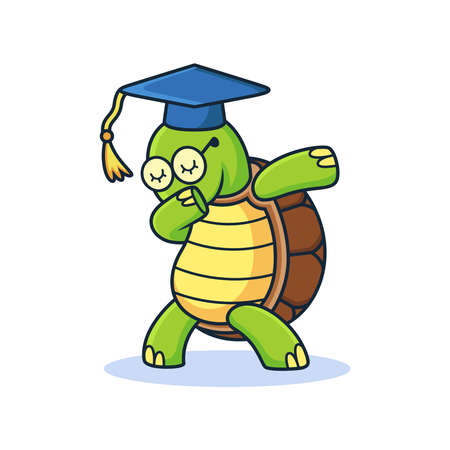 Cute Graduate Turtle with Dub Expression Cartoon. Animal Vector Icon Illustration, Isolated on Premium Vector Vector Illustration