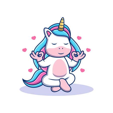 Unicorn with Yoga Pose. Animal Vector Icon Illustration, Isolated on Premium Vector Vektorové ilustrace