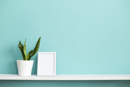 Modern room decoration with Picture frame mockup. White shelf against pastel turquoise wall with potted snake plant. Imagens