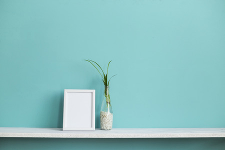 Modern room decoration with Picture frame mockup. White shelf against pastel turquoise wall with spider plant cuttings in water.
