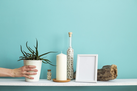 Modern room decoration with Picture frame mockup. White shelf against pastel turquoise wall with Candle and rocks in bottle. Hand putting down potted succulent plant