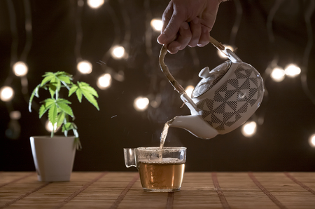 Bamboo table with Marijuana plant in pottery. Hand pouring hot CBD tea from teapot in to glass. Cosy background. 免版税图像