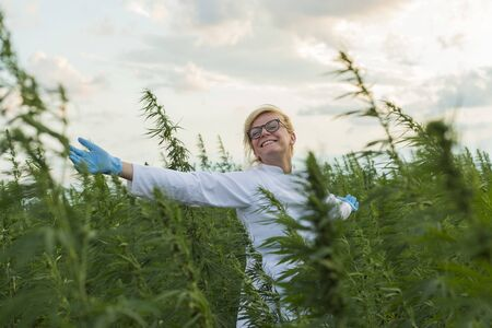 Scientist on marijuana field happy and satisfied with CBD hemp plants. She has wide open hands. She is smiling