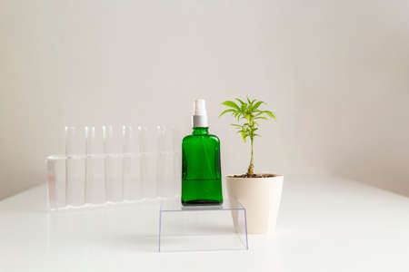 CBD spray product and marijuana hemp plant positioned beside. A spray container stands on a transparent glass cube with test tubes in the background. Фото со стока