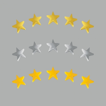 Five stars of detailed qualitative  Gold, silver and yellow Vector