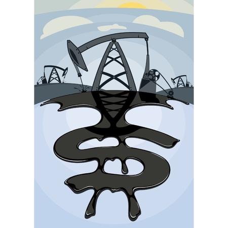 Oliedollars Dollar teken van olielek te midden van olie Stock Illustratie