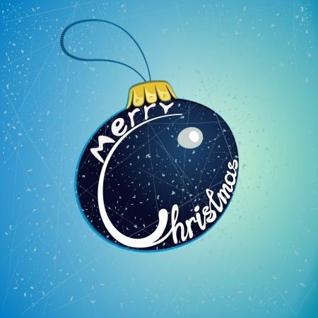 x mas: Merry Christmas on the Christmas tree blue toys Illustration