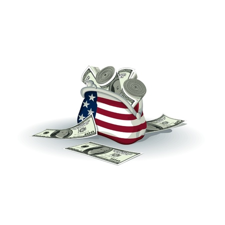 fund world: Detailed American wallet full of dollars  Illustration