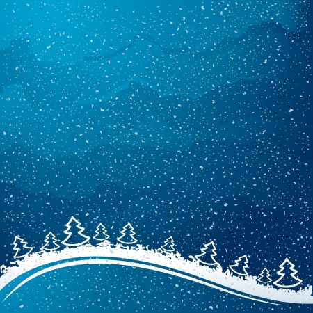 Just realistic beautiful snow on a blue background with Christmas trees  Vector