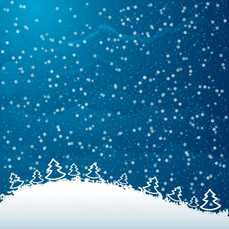 Just realistic beautiful snow on a blue background with Christmas trees