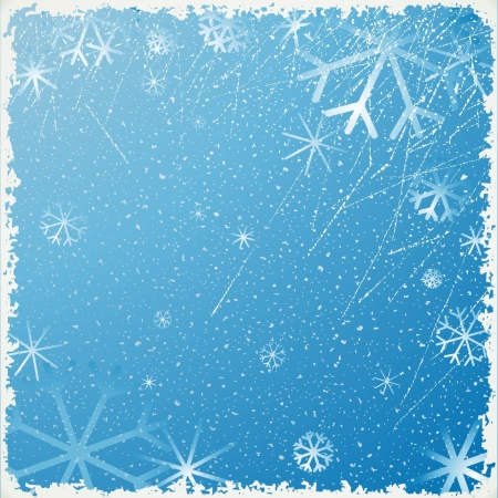 Just realistic beautiful snow on a blue background with snowflakes Vector