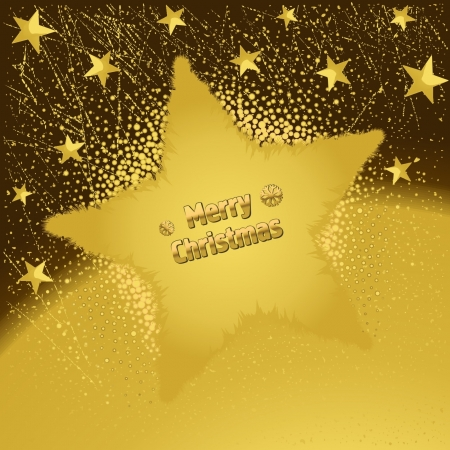 Beautiful gold Christmas background with star and decoration Stock Vector - 16265372
