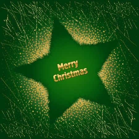 Beautiful green Christmas background with star and decoration Stock Vector - 16265368