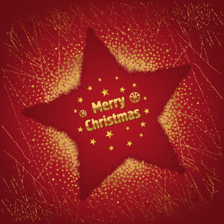 Beautiful red Christmas background with star and decoration