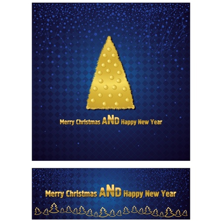 New Year and Christmas background with a gold tree  Further narrow banner with the text  Stock Vector - 16265374