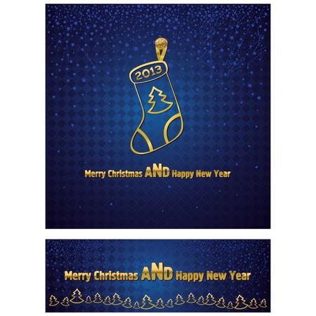 christmas sock: Capodanno e Natale sfondo con una calza di Natale d'oro Ulteriori striscione stretto con il testo